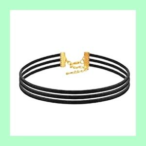 Black and gold choker necklace